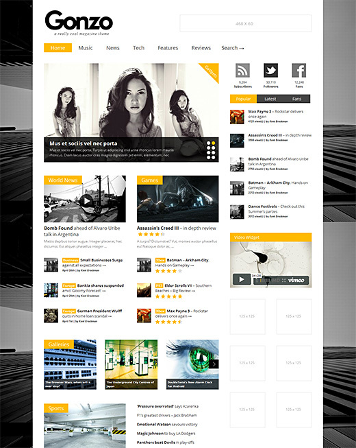 Gonzo wordpress magazine theme