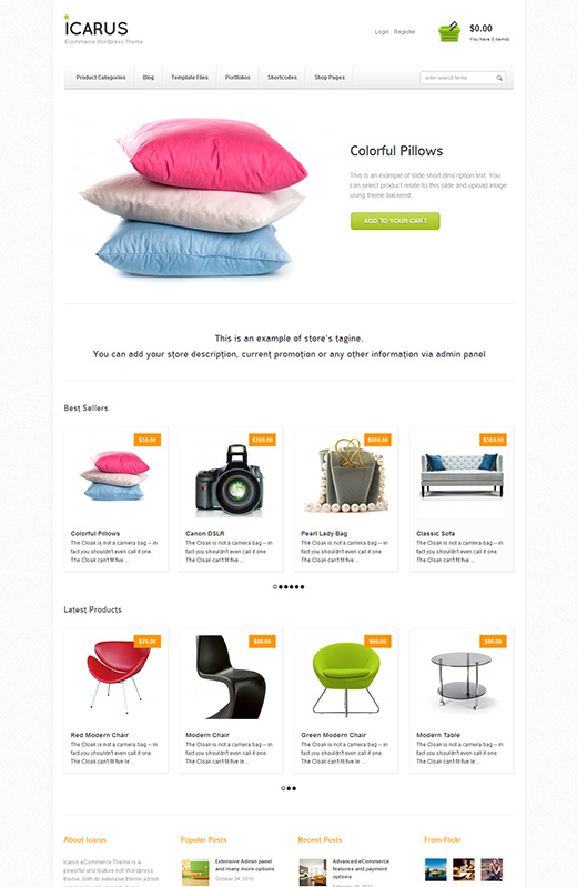 Icarus WordPress eCommerce Theme