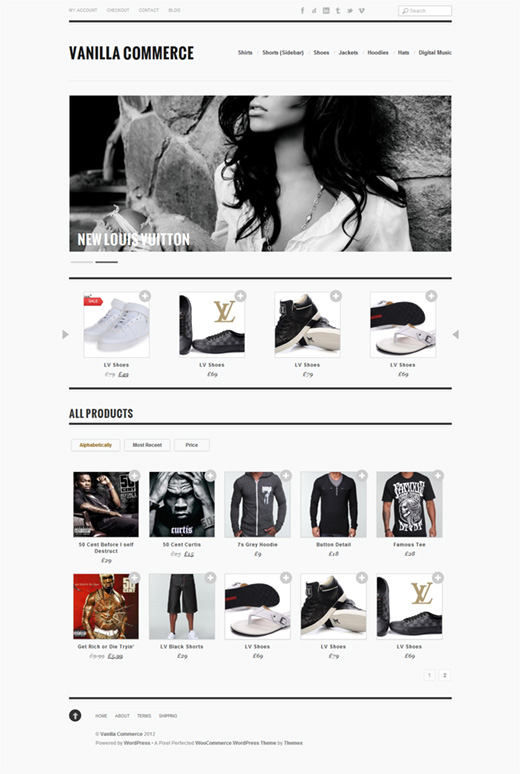 Vanilla Commerce WordPress eCommerce Theme