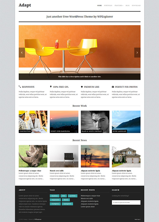 Adapt Free WordPress Business Theme