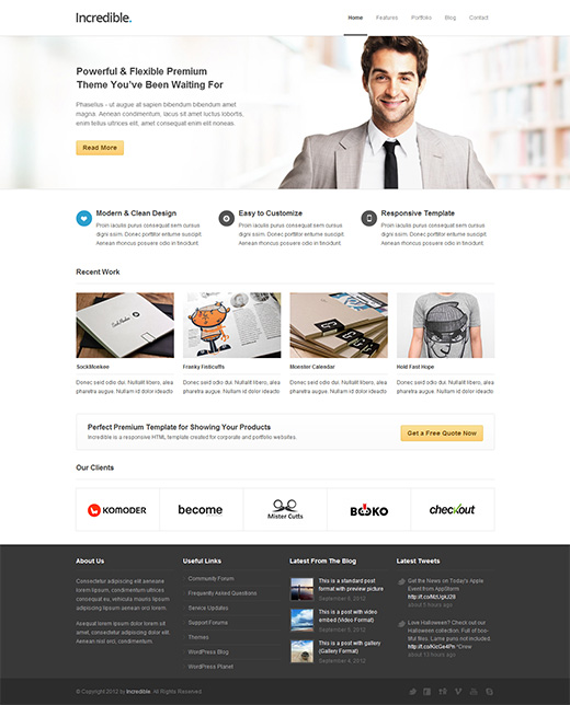 Business wordpress themes theme spiration premium wordpress themes incredible wordpress business theme wajeb Choice Image