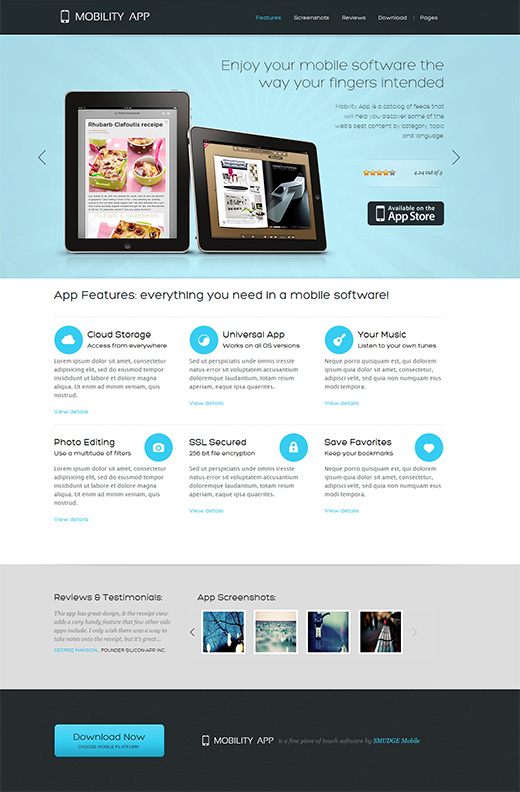 Mobility App Business WordPress Theme