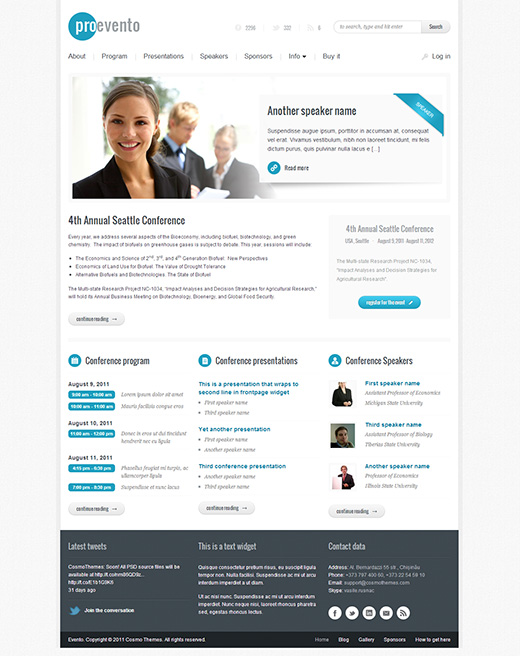 Evento WordPress Business Theme
