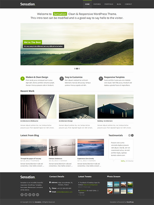 Sensation WordPress Business Theme