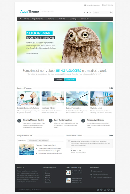 AquaTheme WordPress Corporate Theme