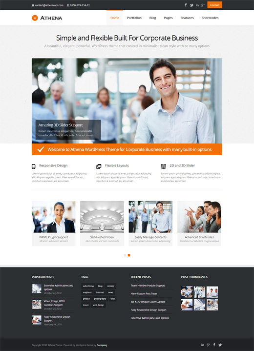 Athena Corporate WordPress Theme