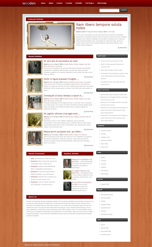 Wooden WordPress Theme