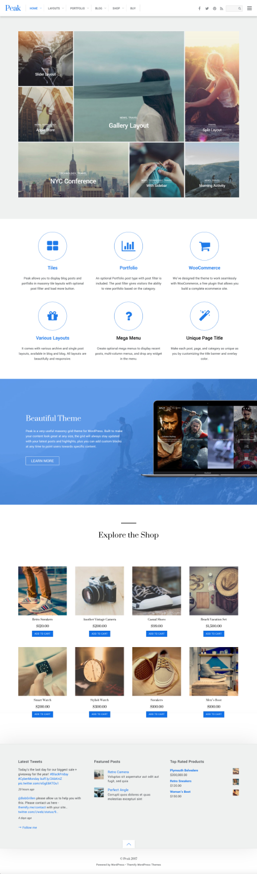 Peak - A modern grid based WordPress theme