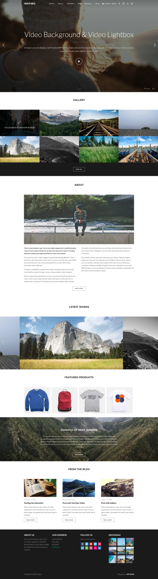 Inspiro • Fullscreen video WordPress gallery theme – WPZOOM