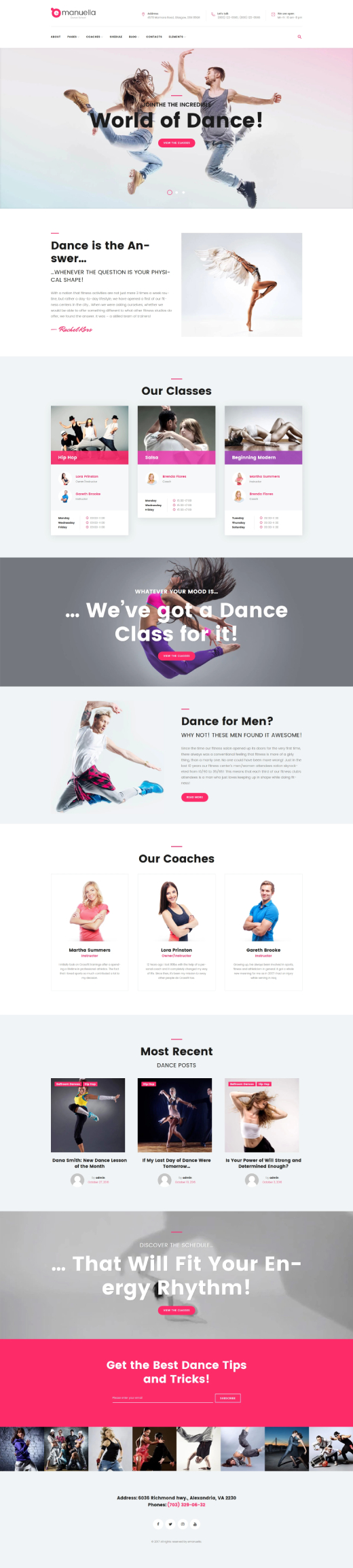 Emanuella - Dance School Responsive WordPress Theme