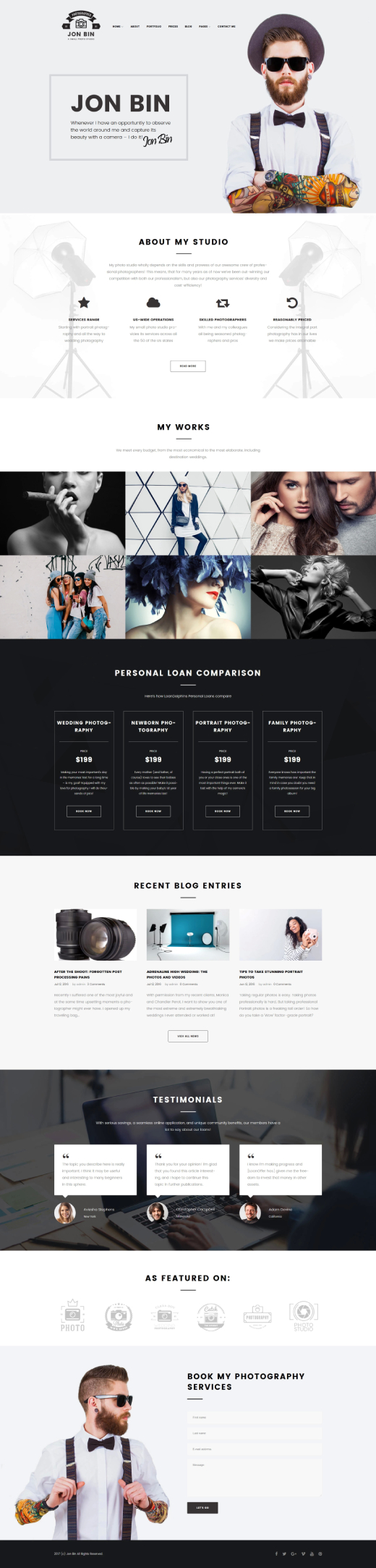 One Page Freelancer Photographer Portfolio WordPress Theme
