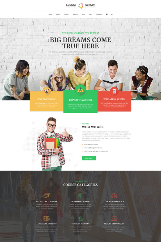 Rainbow Colleges - E-Course WordPress Theme