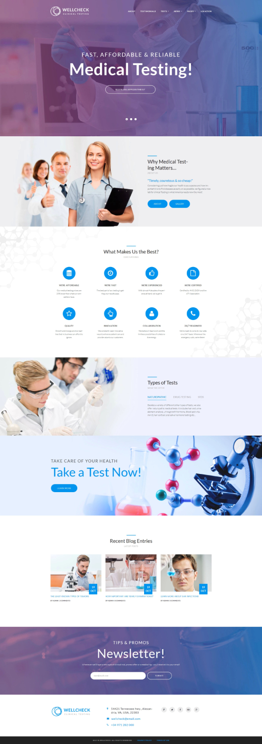 MediCheck - Medical Laboratory Responsive WordPress Theme