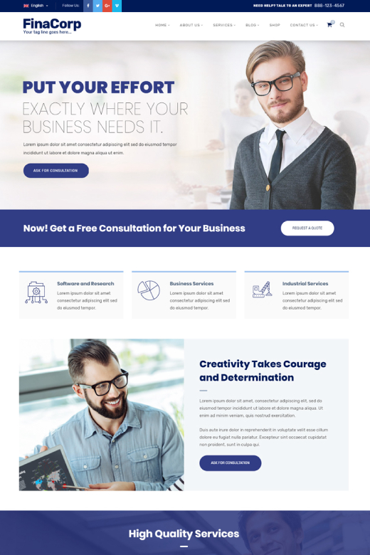 FinaCorp - Corporate Consulting Finance WordPress Theme