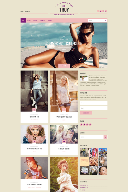 Troy - Fashion/Blogger WordPress theme - CSSIgniter
