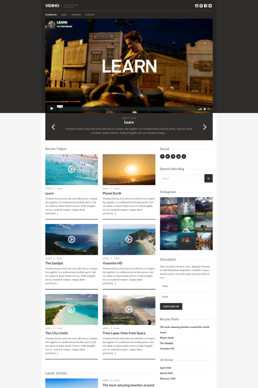 Vidiho - Video Blogging theme - CSSIgniter
